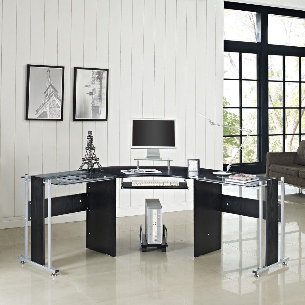Corner computer desk white or black glass l shape pc table home office furniture