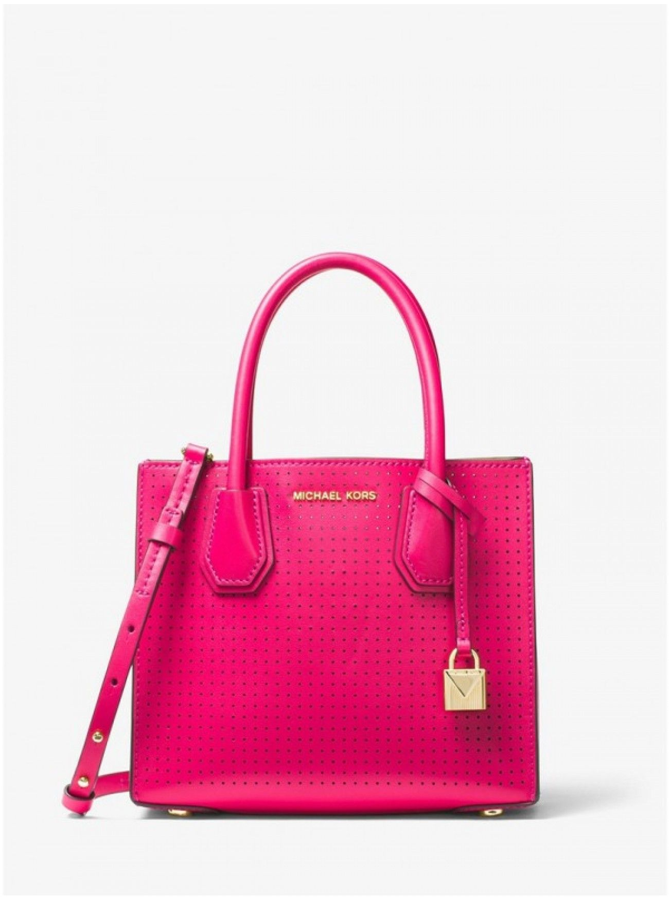 1f86c716869e Online MICHAEL Michael Kors Mercer Perforated Leather Crossbody ULTRA PINK  Canada Cheapest Prices
