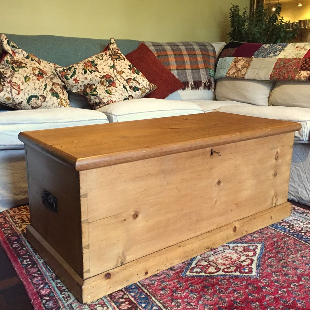 Antique Pine Chest Victorian Blanket Chest Coffee Table Trunk Old