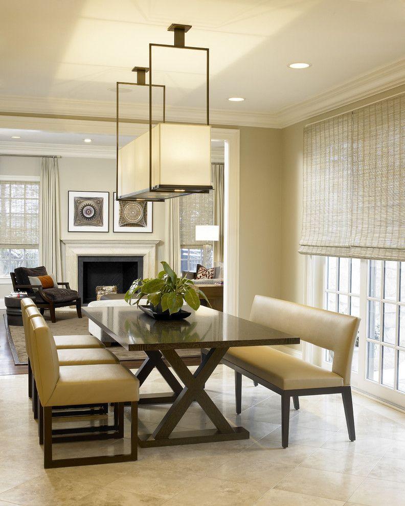 Rectangular Light Fixtures Dining Room Contemporary With Beige Tile Floor