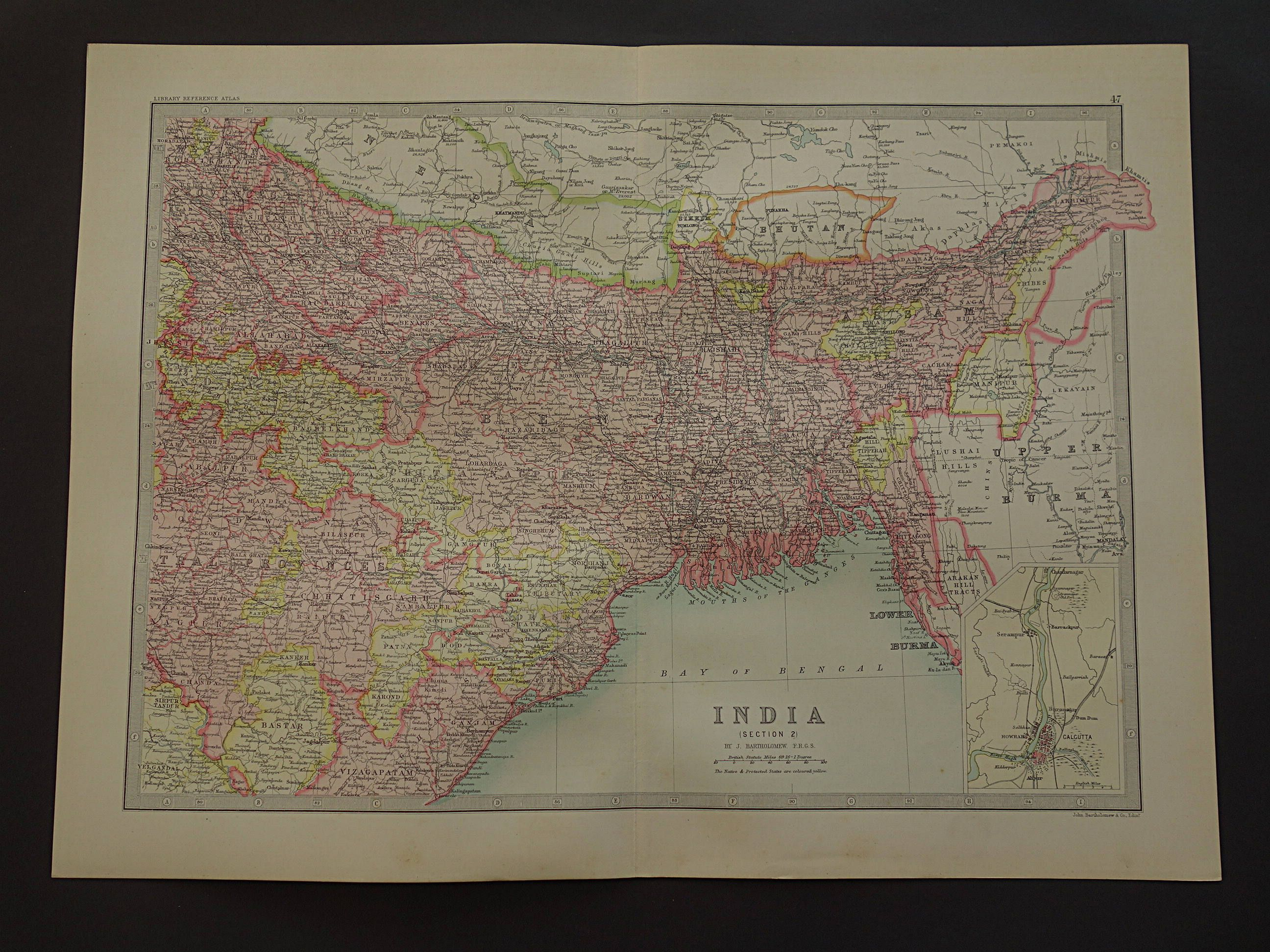 India map large 1890 original old antique print of calcutta kolkata india map large 1890 original old antique print of calcutta kolkata bangladesh dhaka patna darjeeling vintage maps poster 14x19 big by vintageoldmaps on gumiabroncs Image collections