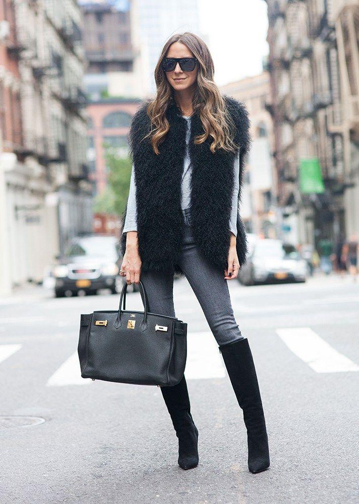 25 Fresh Ways To Wear A Faux Fur Vest Fur Vest Outfits Faux Fur Vest Black Vest Outfits