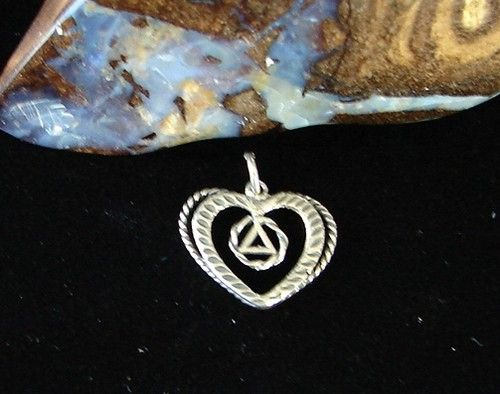 Sterling Silver Alcoholics Anonymous Aa Symbol Double Heart Pendant