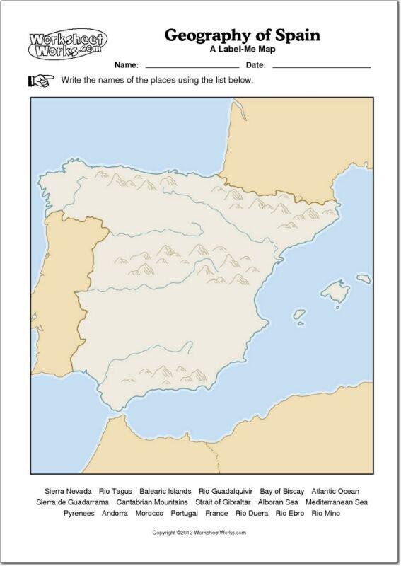 Mapa en el que puedes colocar los nombres de los ros y los