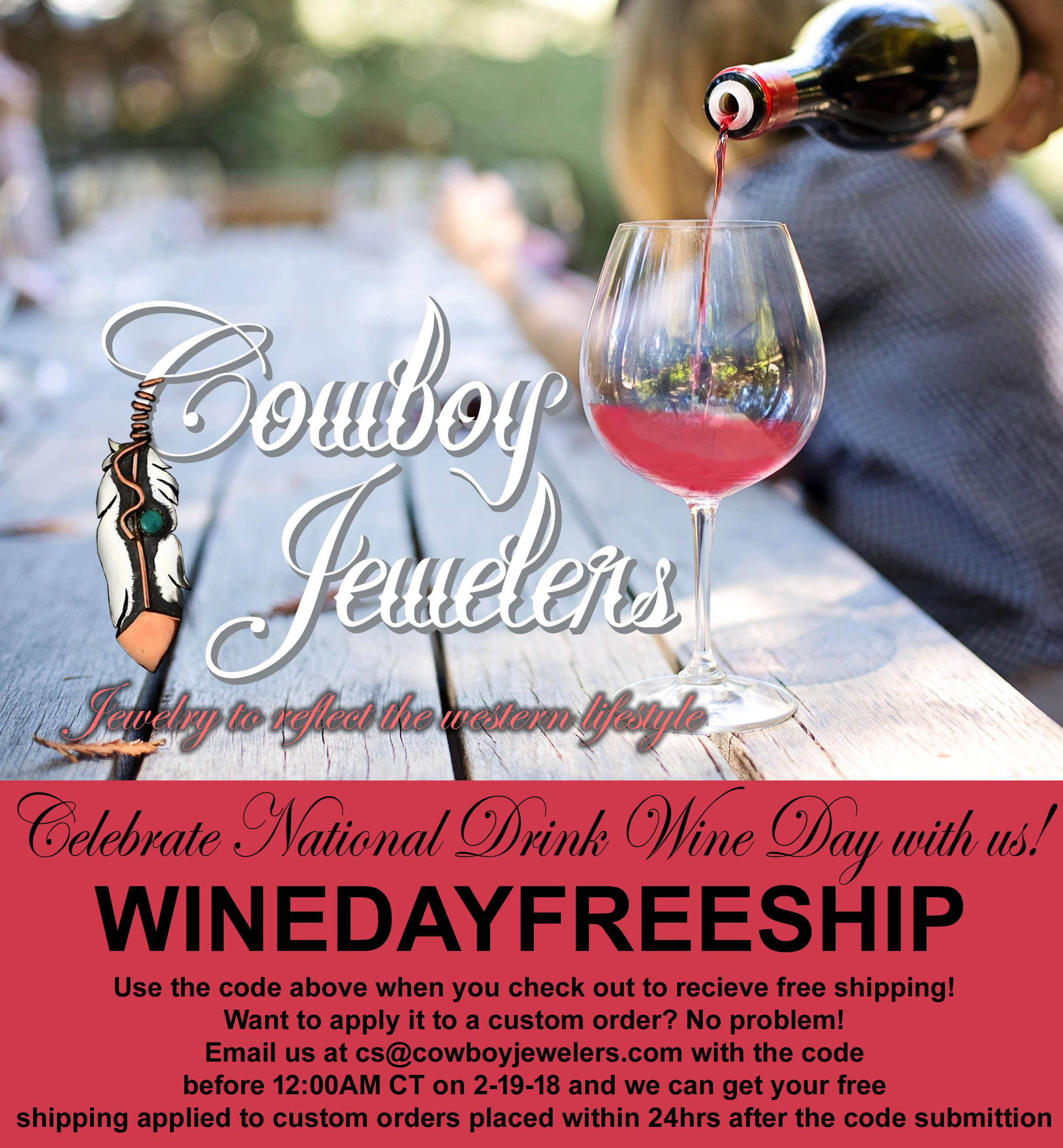 What Better Way To Celebrate National Drink Wine Day Then To Sip And Shop Use The Code When You Checkout To Receive Cowboy Jewelry Drink Wine Day Wine Drinks