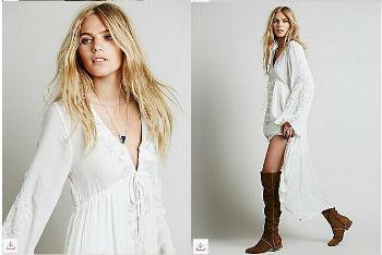 4e65e85ddc Bohemian Long Dress Women Vintage Ethnic Flower Embroidered Cotton ...