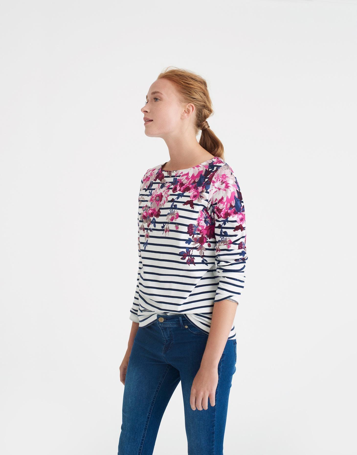 e0101f07e30d9 Harbour print Cream Floral Stripe Jersey Top