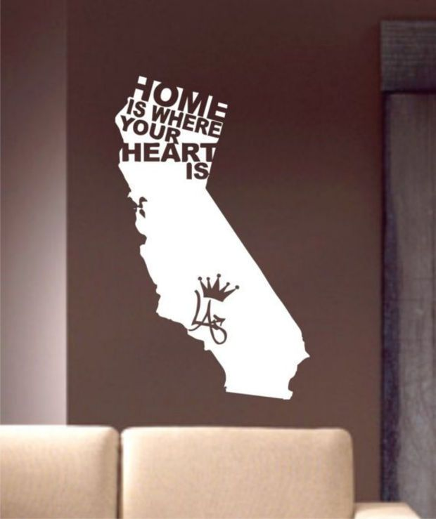 Home Is Where Your Heart Is Decal Sticker Wall Vinyl Sonya Lovine California Ca Cool Nice Wall Vinyl Decor Vinyl Wall Art Decals Wall Candy