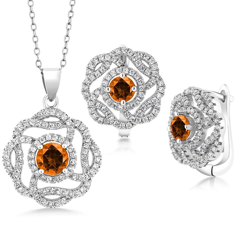sterling silver pendant earrings set mm set with poppy topaz