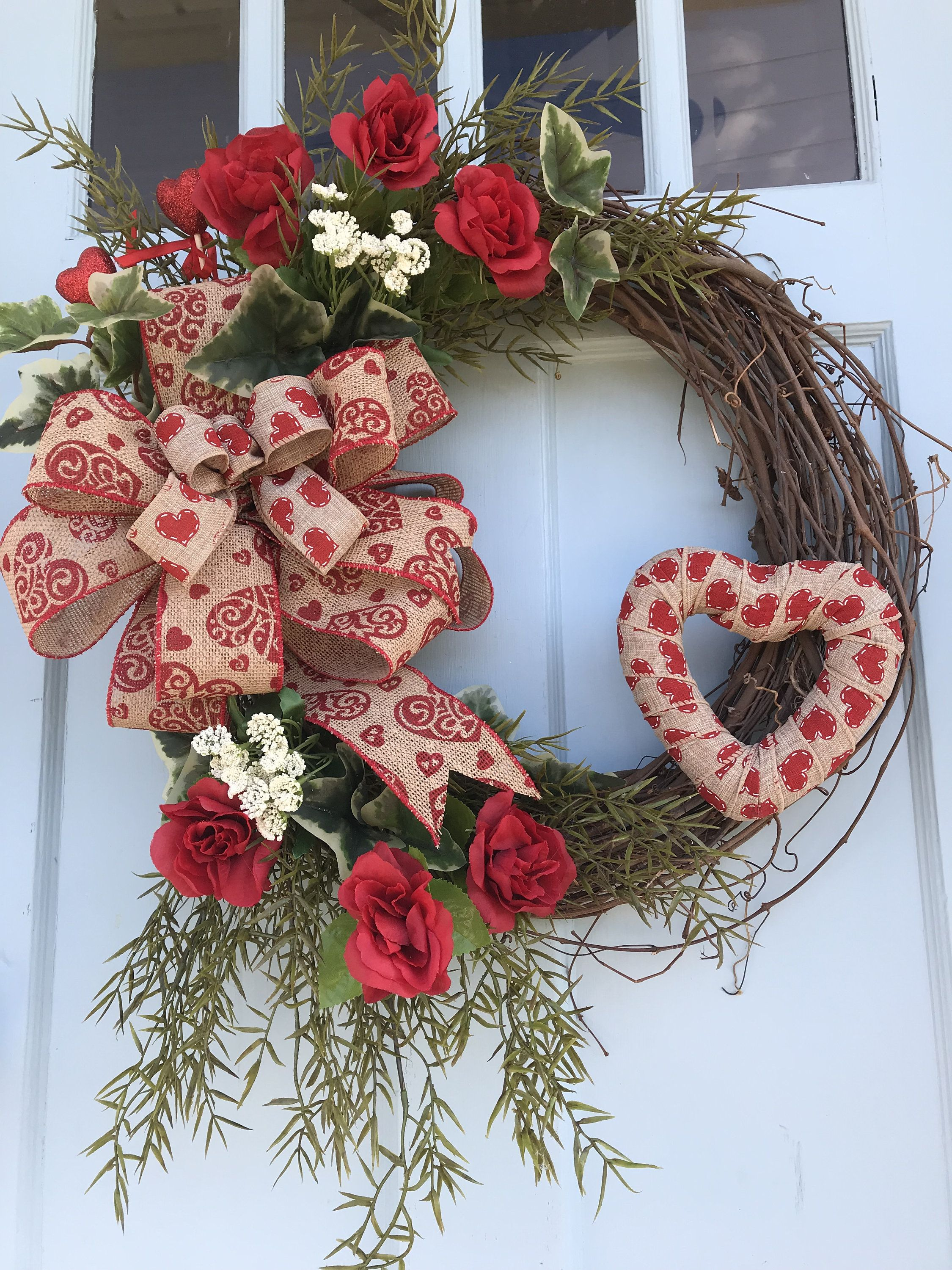 Heart Valentine Wreath Wreaths For Front Door Everyday Grapevine Spring Summer Farmhouse Primitive Year Long Wreaths In 2020 With Images Valentine Wreath Diy Valentine Door Decorations Valentines Day Decorations