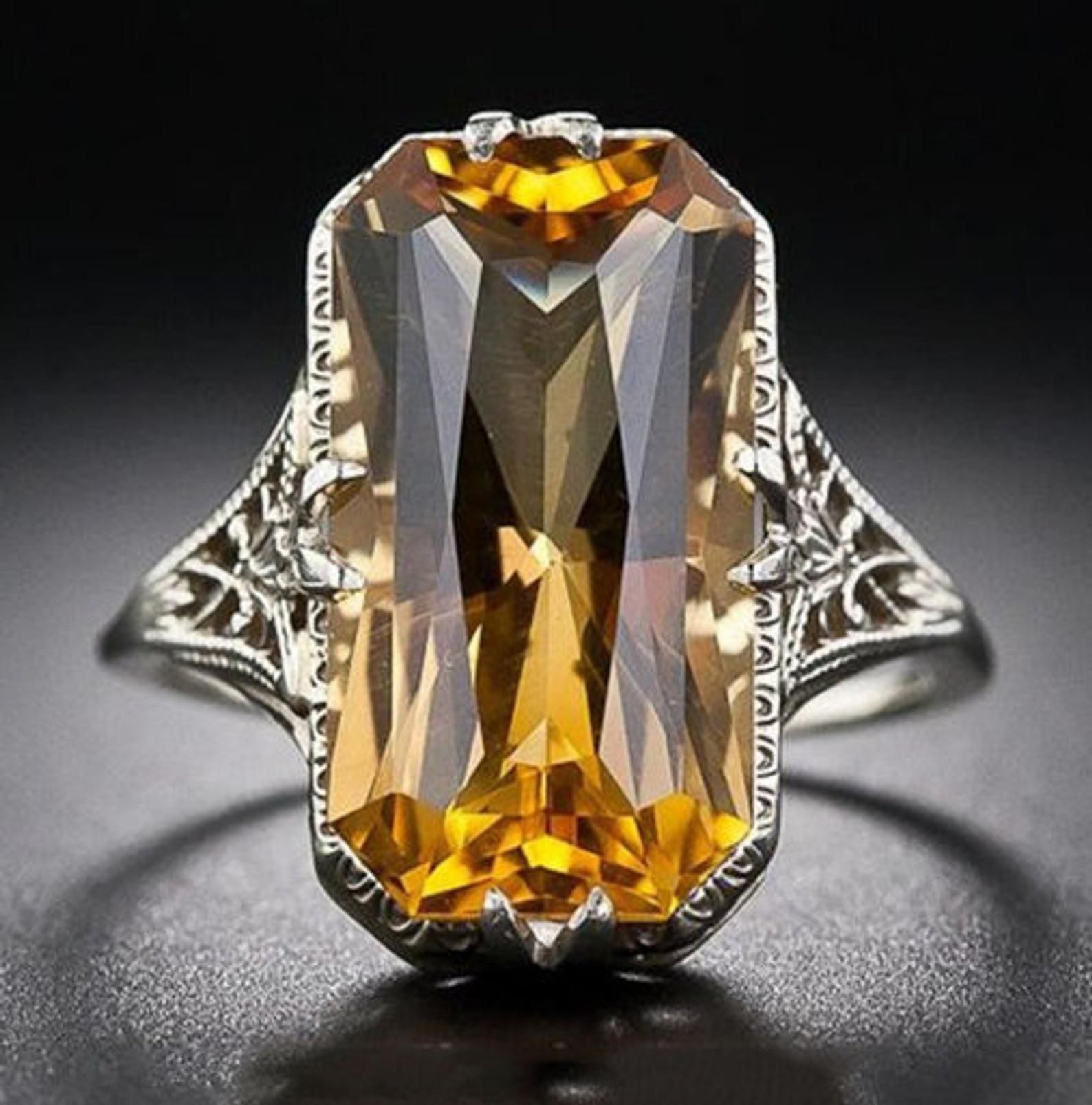 Natural CITRINE Carved Diamond 18k Gold 925 Silver VICTORIAN Gemstone PENDANT