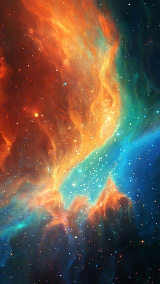Orange Blue Colorful Nebula Illustration Nebula, Outer