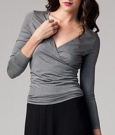 Three Dots: Long Sleeve Fitted Wrap Top