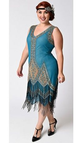 Unique Vintage Plus Size Teal & Gold Embroidered Somerset ...