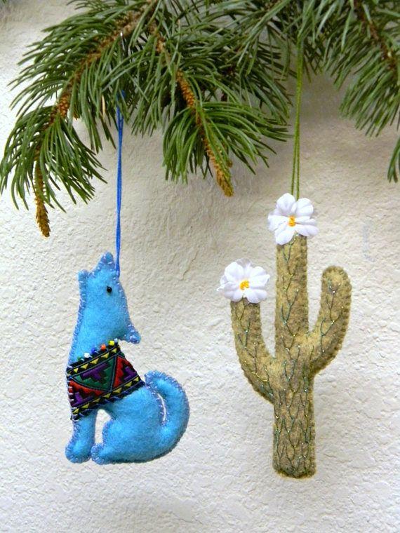 Southwestern Christmas Tree Ornament Set of 2 Coyote and - Southwestern Style Christmas Tree Ornament Set Of 2 Coyote And