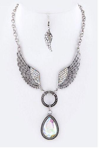 Crystal Wing and Tear Drop Necklace Set Biker Style #Unbranded #Biker