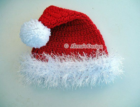 cd58a3d394a Crocheted Santa Hat 0-3 to Adult sizes Christmas Santa Hat Handmade Newborn  Baby Children Teen Pom-P
