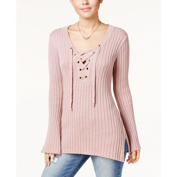 Ultra Flirt Juniors  Ribbed Bell-Sleeve Sweater ( 44) ❤ liked on Polyvore  featuring tops aef1f7848