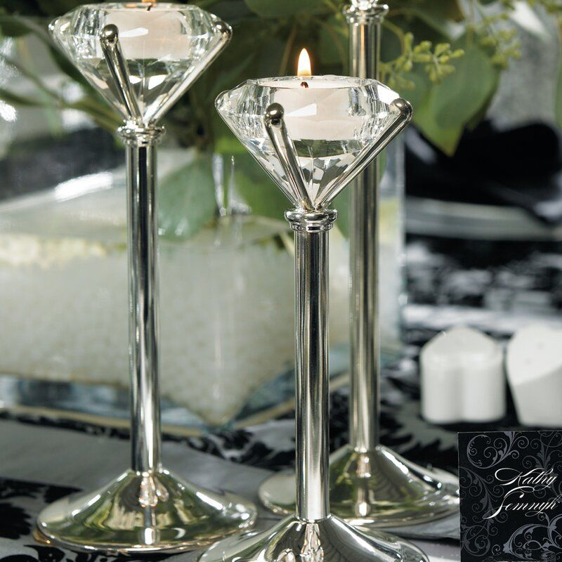 2 Pack Crystal Glass Candle Holder Candlesticks Filling Green Rhinestones Dinner Table Decor for Home