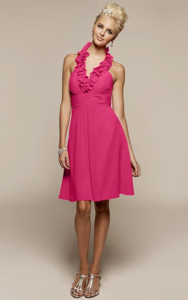 A-line Knee-length Halter Fuchsia Dress-EB-03210439-US$96