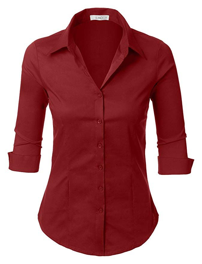 37d1da98 Amazon.com: LE3NO Womens Roll Up 3/4 Sleeve Button Down Shirt with Stretch:  Clothing