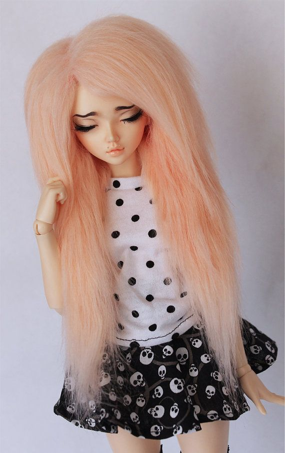MSD BJD wig minifee 7 Hand colored Tangerine by MonstroDesigns