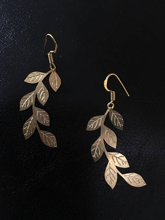 0a93751b18a6db These lovely, large, leaf filigree earrings are hand cut from brass plates.  Delicate and feminine, these versatile, classic golden earrings are light  weight ...