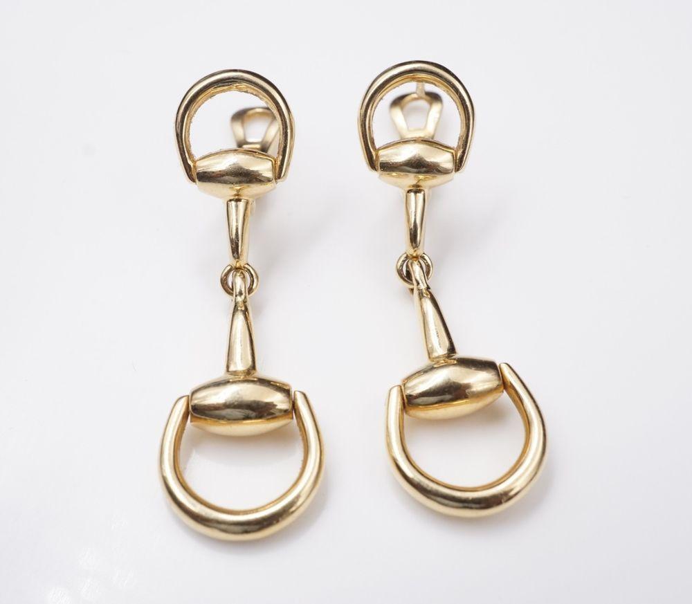 9821874ed0801 Designer Gucci 18k Yellow Gold Large Horsebit Dangle Drop Earrings 2 ...