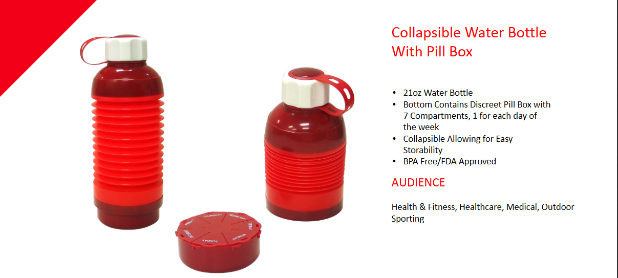 21 Ounce Water Bottle Bottom Contains Discreet Pill Box With 7 Compartments 1 For Each Day Of The Week Collaps Bottle Water Bottle Collapsible Water Bottle
