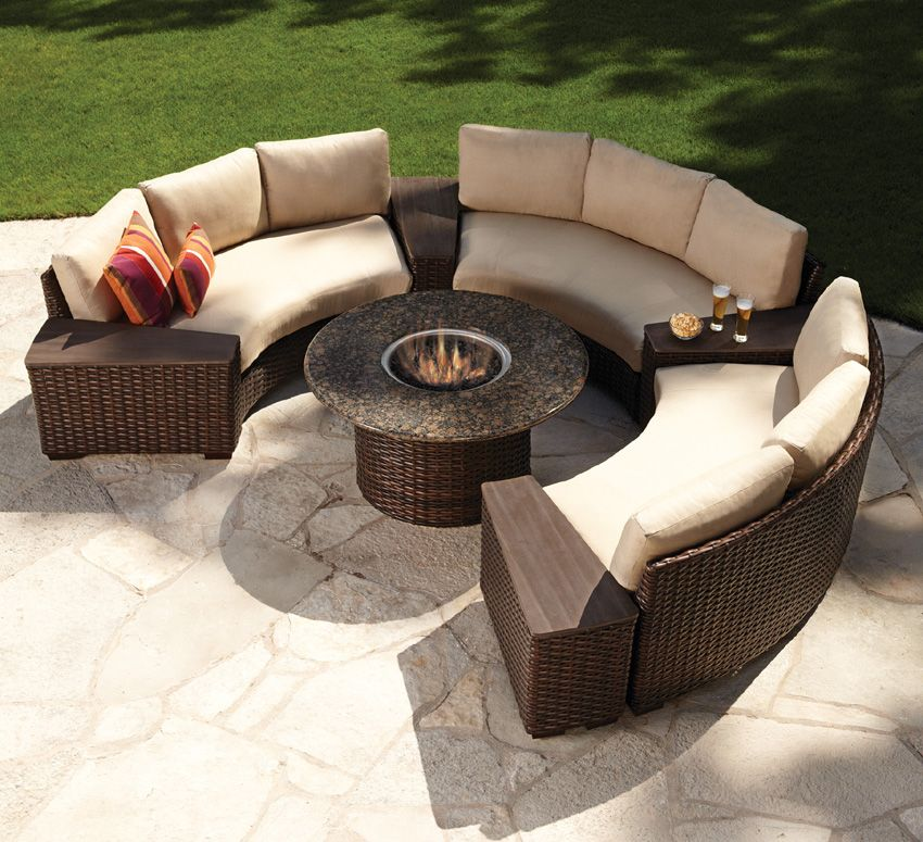 Hitting All The High Notes Of Today S Por Patio Trends Contempo Curved Sectional Fire Pit Set From Lloyd Flanders Offers Look Wicker