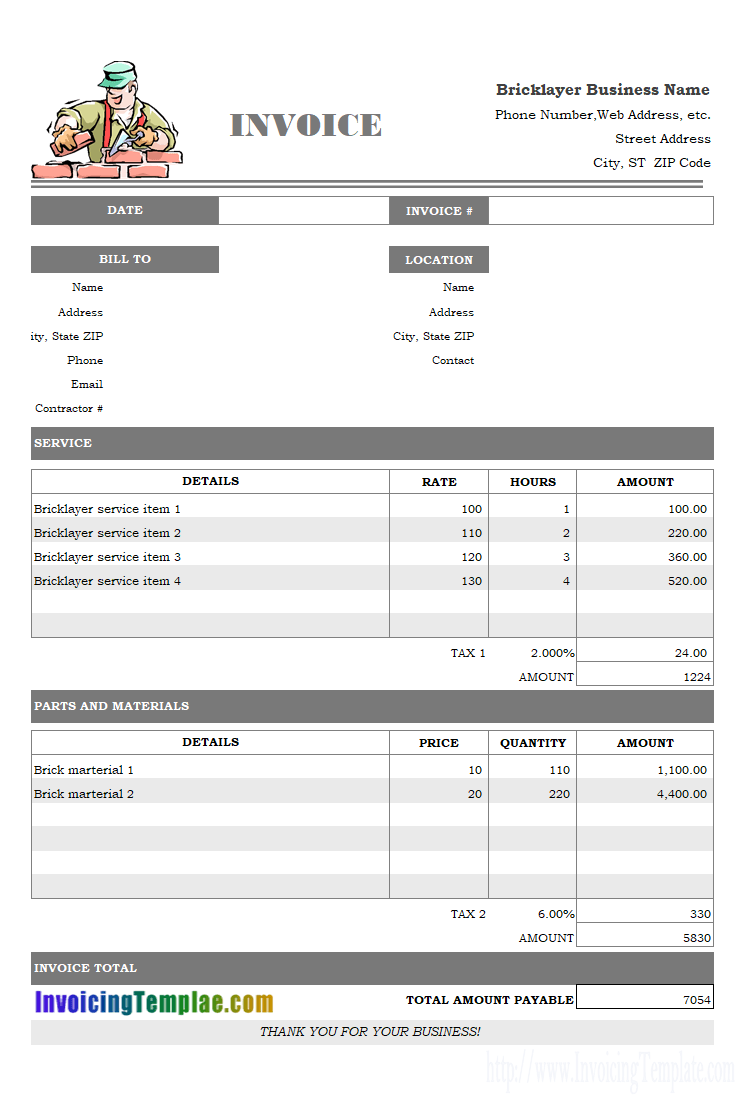 Bricklayer Invoice Template Invoice Template Invoice Format In Excel Receipt Template