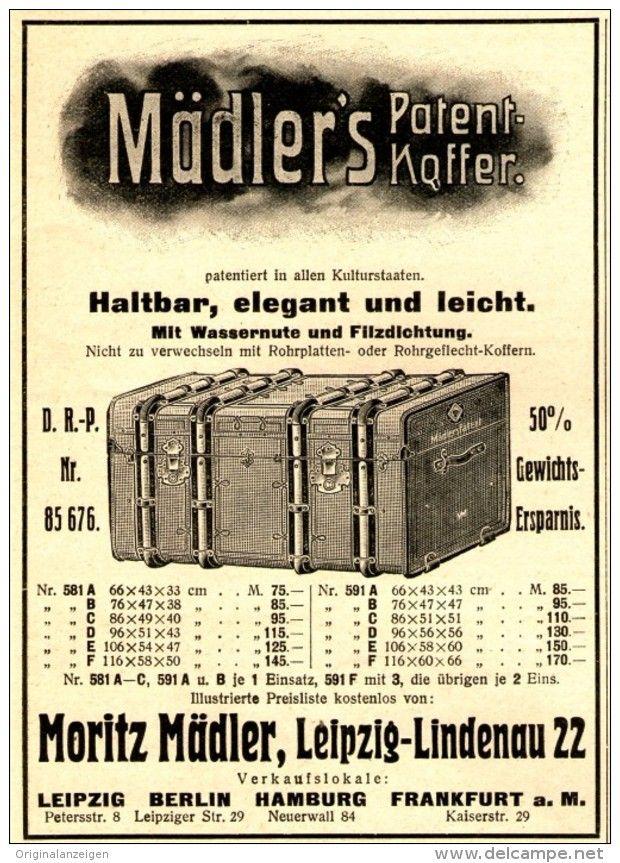 Original-Werbung/ Anzeige 1909 - PATENT - KOFFER MORITZ MÄDLER / LEIPZIG - ca. 90 x 120 mm
