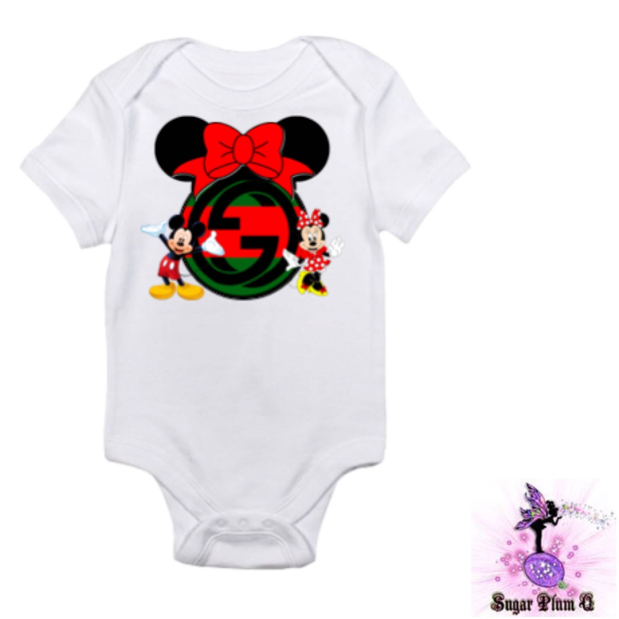 8270e3a8ad5 Designer inspired Red and Green Gucci Mickey Mouse and Minnie Mouse baby  onesie babyshower gift first