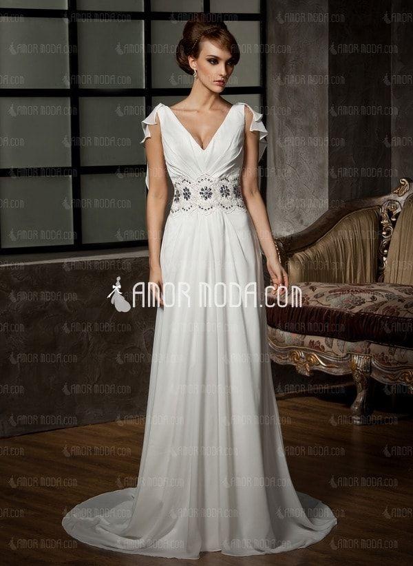 Elegantamazing Vestido de Novia Bordado con Velo Blanco
