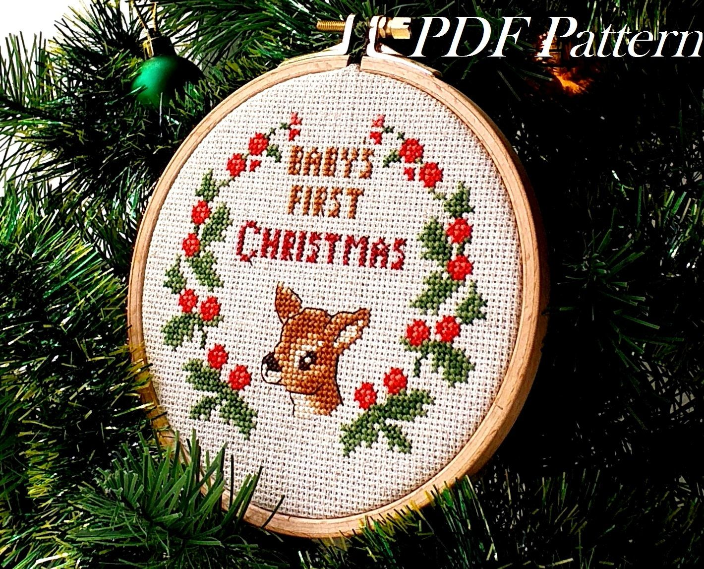 Babys First Christmas Ornament, Funny Cross Stitch Pattern, Beginner Embroidery, Santa Sack Gift, Babys Christmas Stocking, Reindeer PDF