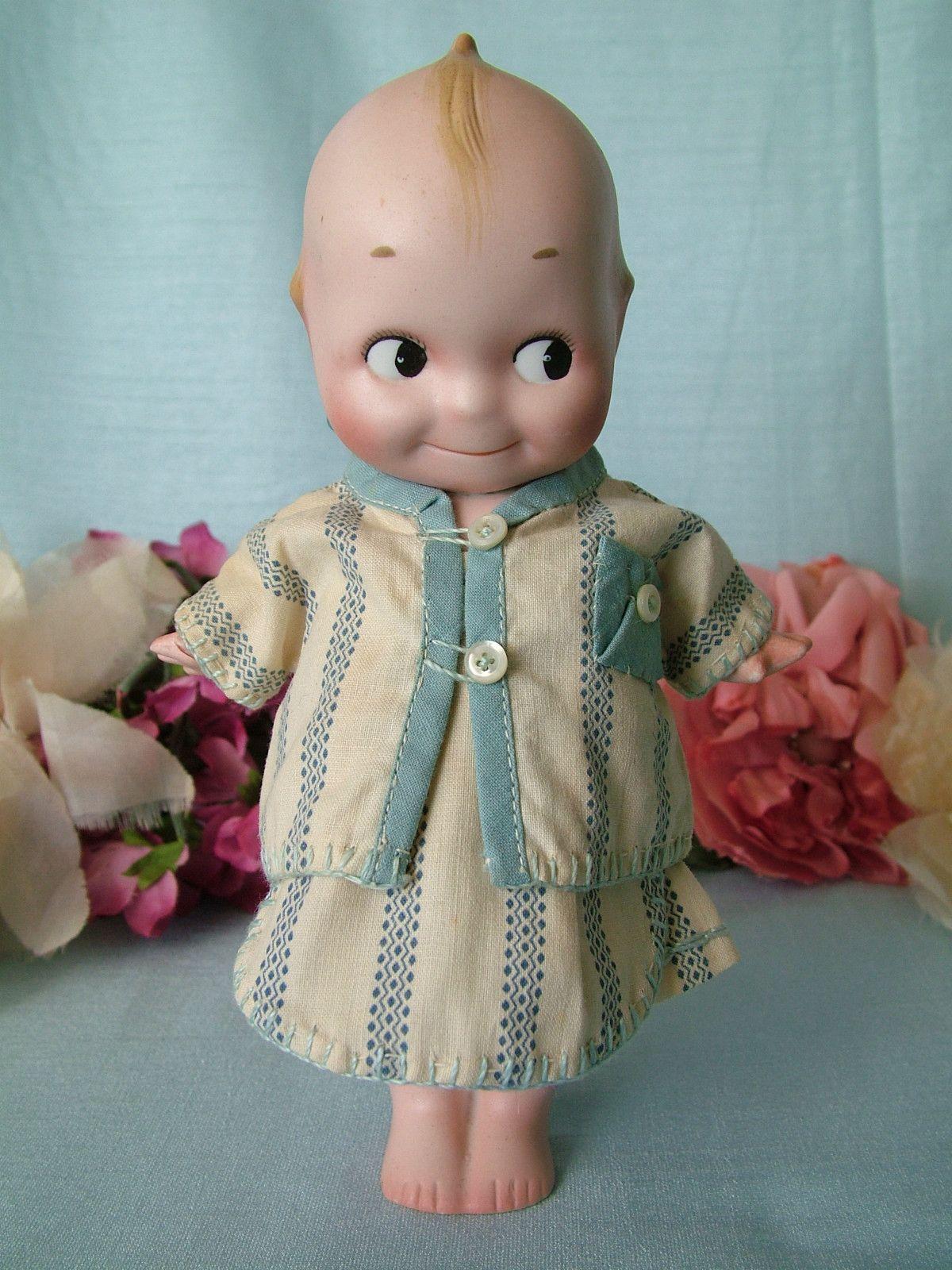 "BIG 7 5""Antique German All Bisque Rose O Neill Kewpie Doll Cute"