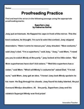 Proofreading Marks Printables Edit Writing Proofreading Activities Reading Comprehension Worksheets Personal Narrative Writing Paragraph editing worksheets grade 4
