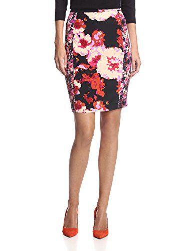 Yoana Baraschi Women's Moonlight Rose Pencil Skirt (Berry/Multi)