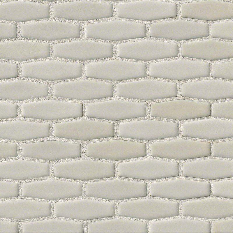 Elongated Hexagon 12 X 12 Ceramic Mosaic Tile In Antique White Hexagonal Mosaic Herringbone Backsplash Backsplash For White Cabinets