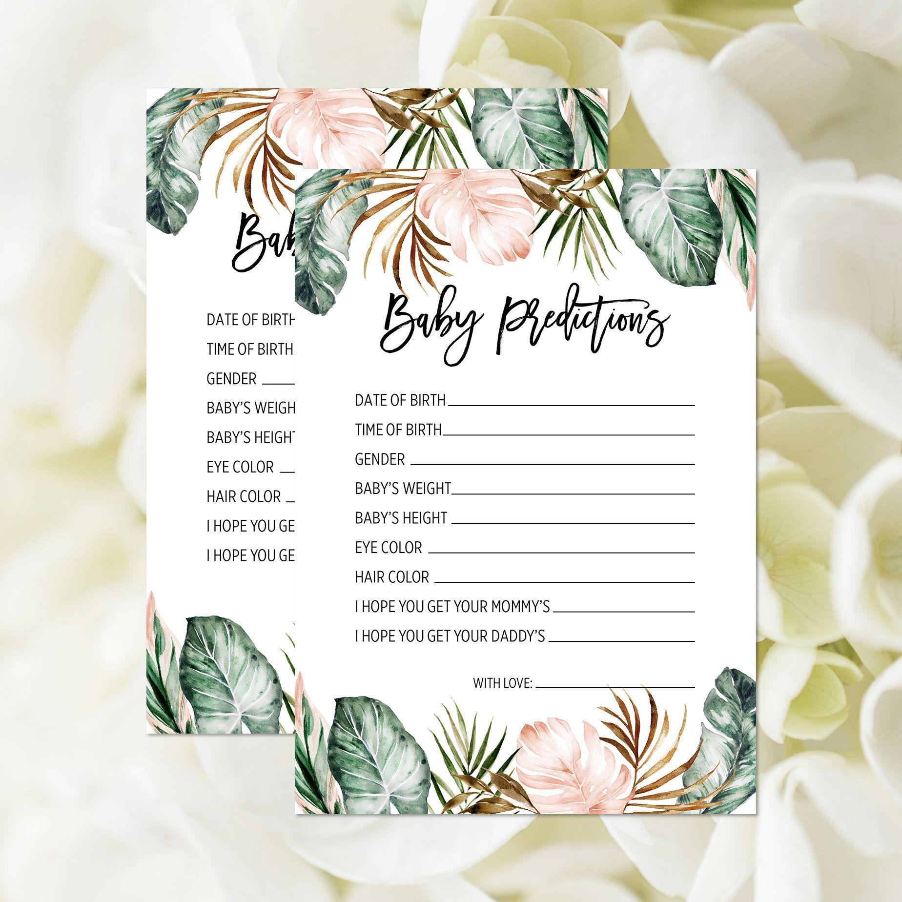 Baby Predictions Game, Printable, Predictions Card