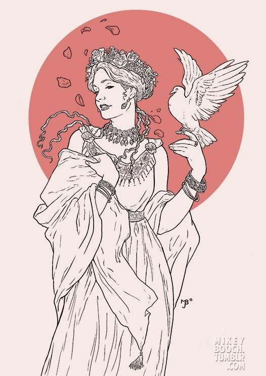Laughter-loving Aphrodite crowned in roses, myrtle, and apple blossoms for Valentine's Day