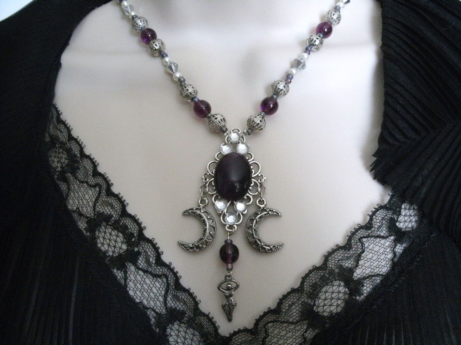 pin triple hecate amulet pendant hekate unique goddess magic purple witch unisex amethyst art wearable jewelry necklace