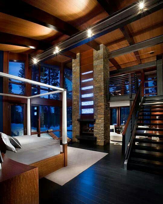 Imi Design Modern Mountain Home Rustic Stone Fireplace House