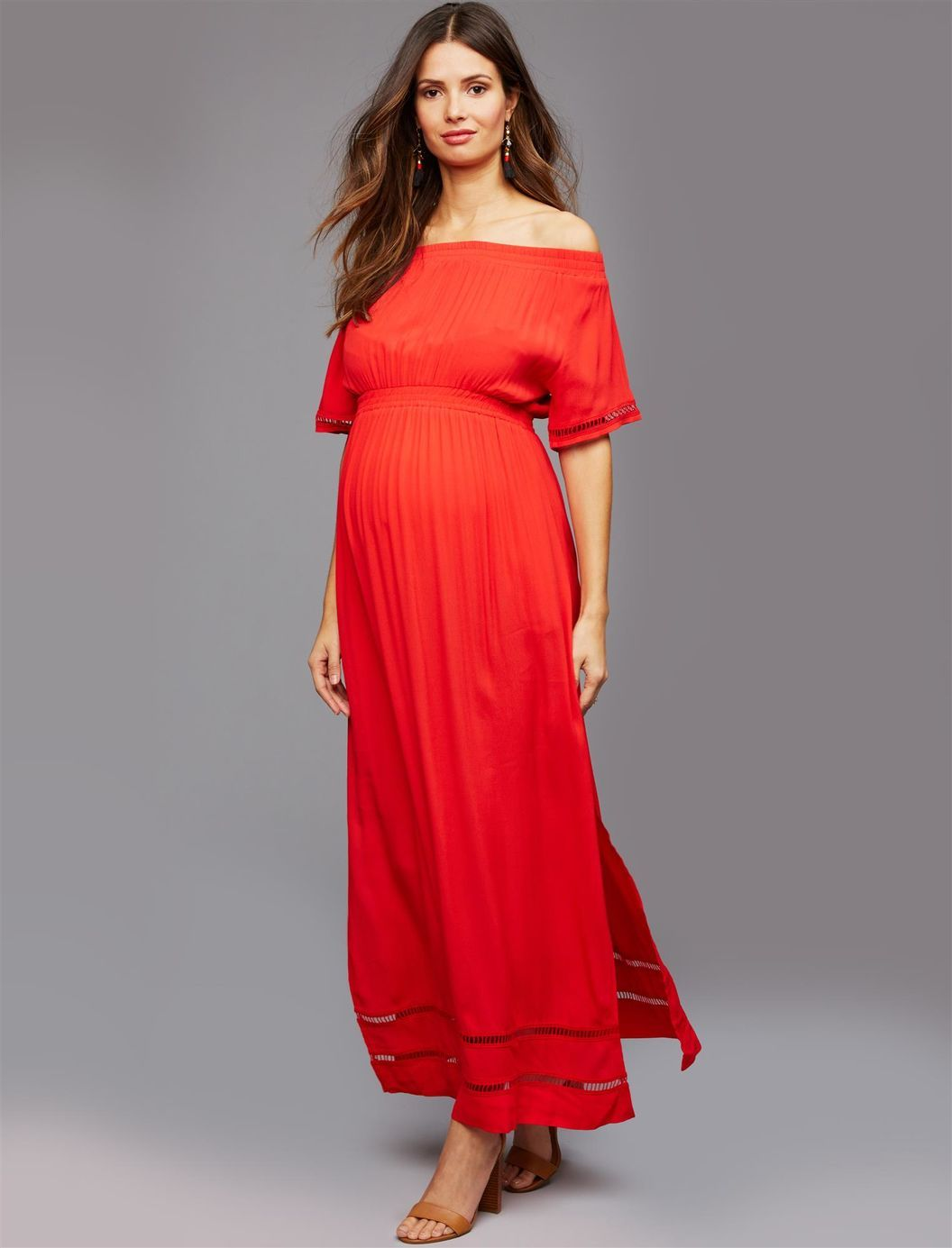 Ripe off the shoulder maternity and nursing dress red my style ripe off the shoulder maternity and nursing dress red ombrellifo Images