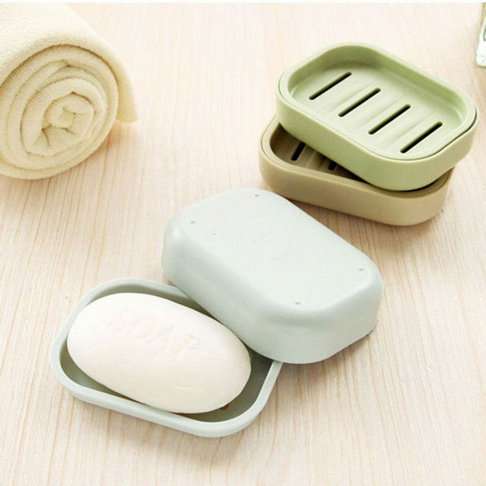 Soap Dish Plastic Bathroom Soap Dishes Box Holder Container Soap Case