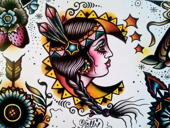 Native American Tattoo Flash Folk Art Print By by EgoSumNauta