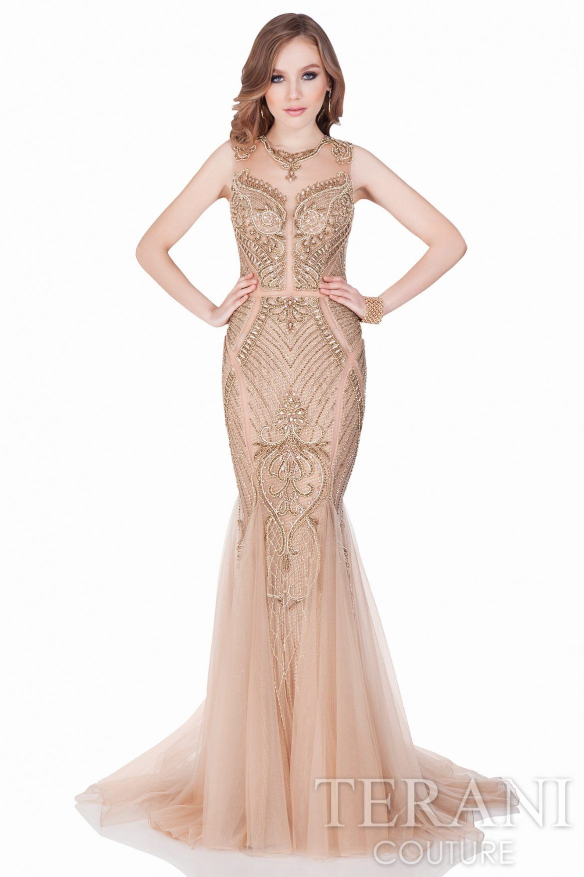 Terani sleeveless gown with beaded pattern gowns bodice and red