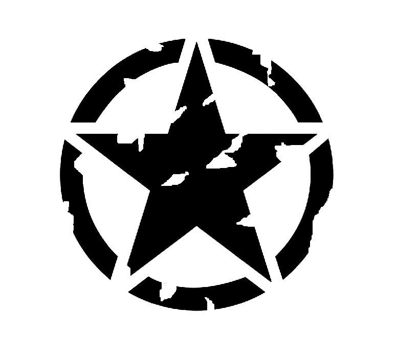 2 Army USMC Military JEEP or Willys Star Vinyl Decals SELECT COLOR /& SIZE