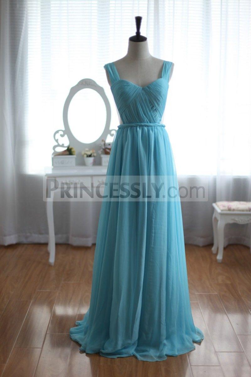 Sage Blue Chiffon Bridesmaid Dress Prom Dress