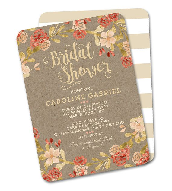 Rustic Fall Floral Baby Shower Invitation Gender Neutral